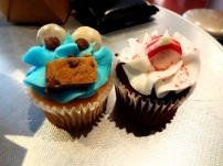 cookie monster and red velvet cupcakes from Hershey's Factory